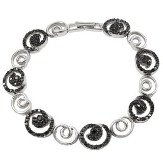 Luxiro Two-tone Sterling Silver Black Cubic Zirconia Spiral Bracelet
