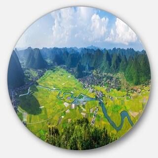Designart 'Rice Field Valley Vietnam Panorama' Landscape Disc Metal Wall Art