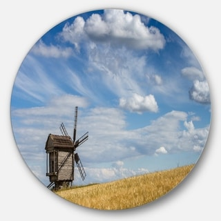 Designart 'Cloudy Sky and Windmill Summer day' Landscape Disc Metal Artwork