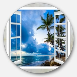 Designart 'Window Open to Cloudy Blue Sky' Landscape Round Wall Art