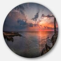 Designart 'Ancient Ruins and Beach Panorama' Beach Round Wall Art