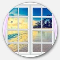 Designart 'Closed Window to Ocean Sunset' Landscape Disc Metal Wall Art