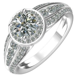 Sterling Silver 1ct Center and 3/4ct Side Cubic Zirconia Ring (Option: 6.25)