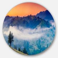 Designart 'Fantastic Blue Mountains Panorama' Landscape Disc Metal Artwork
