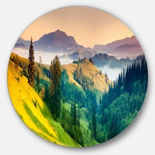 Designart 'Brightly Green and Blue Mountains' Landscape Round Wall Art