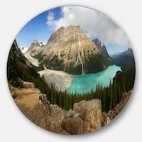 Designart 'Peyto Lake Glacial Panorama' Landscape Disc Metal Wall Art
