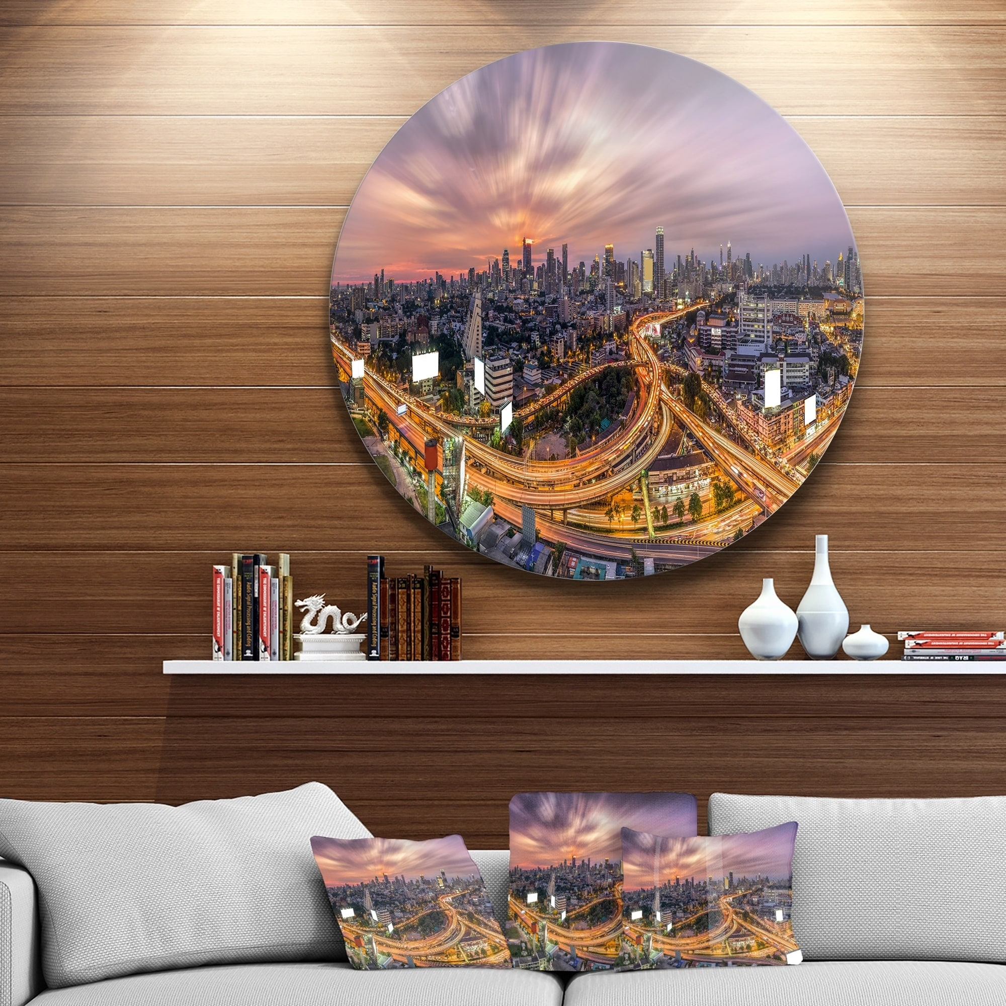 Designart Bangkok S Shaped Express Way Cityscape Circle Wall Art Overstock 14250192