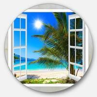 Designart 'Window Open to Beach with Palm' Seashore Round Wall Art