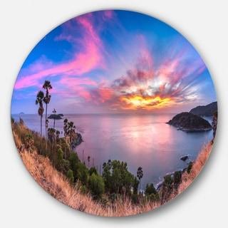 Designart 'Promthep Cape Best Phuket View Point' Seashore Round Metal Wall Art