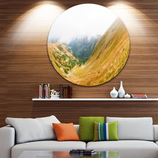 Designart 'View from Volovec at Tatras' Landscape Large Disc Metal Wall art