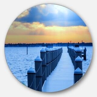 Designart 'Fantastic Blue Boardwalk and Seashore' Sea Bridge Disc Metal Wall Art