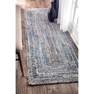 nuLOOM Handmade Braided Natural Fiber Jute/Denim Blue Runner Rug (2'6 x 8')