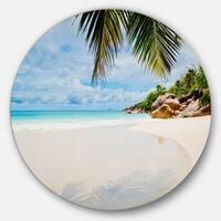 Designart 'Summer Beach with Palm Leaves' Modern Seascape Disc Metal Wall Art