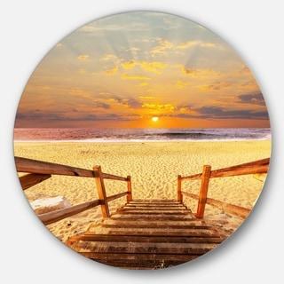 Designart 'Brown Wooden Boardwalk into Beach' Sea Bridge Large Disc Metal Wall art