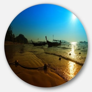 Link to Designart 'Sunset with Boats in Andaman Sea' Modern Seascape Disc Metal Wall Art Similar Items in Metal Art