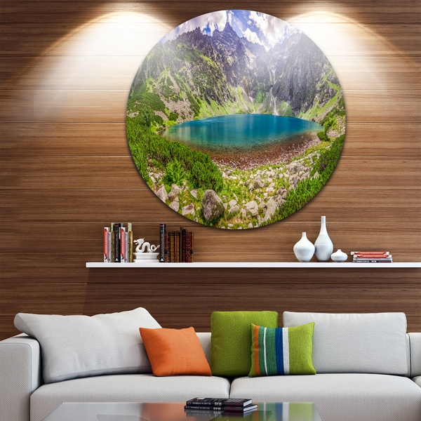 Designart 'Tatra Mountains at Dawn Panorama' Landscape Disc Metal Wall Art