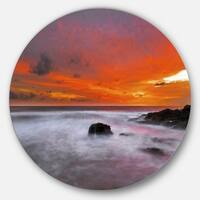 Designart 'Vividly Colorful Tropical Beach at Sunset' Seascape Round Wall Art