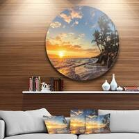 Designart 'Paradise Tropical Island Beach with Palms' Seascape Circle Wall Art