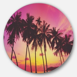 Designart 'Row of Beautiful Palms under Magenta Sky' Large Disc Metal Wall art Landscape