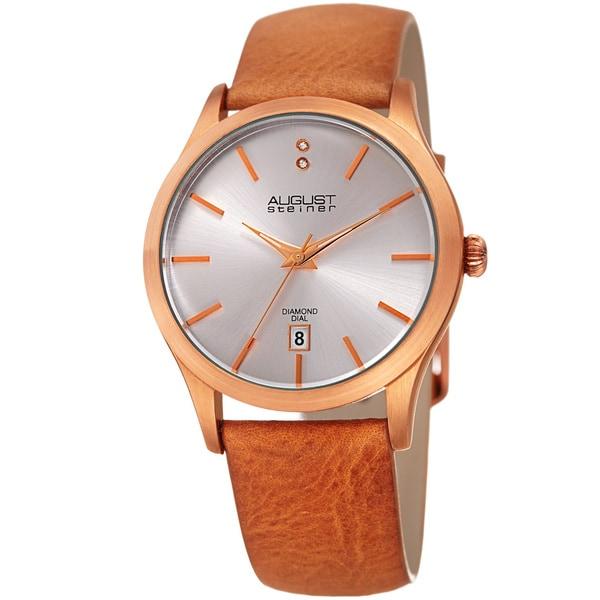 August Steiner Women's Diamond Date Sleek Rose-Tone Leather Strap Watch