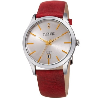 August Steiner Women's Diamond Date Sleek Silver-Tone/Red Leather Strap Watch