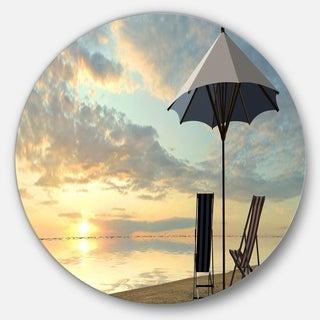 Designart 'Deck Chairs and Umbrella on Beach' Modern Seascape Disc Metal Wall Art