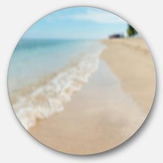 Designart 'Tropical Island Beach Waves' Modern Seascape Disc Metal Artwork
