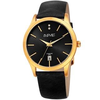 August Steiner Women's Diamond Date Sleek Gold-Tone/Black Leather Strap Watch