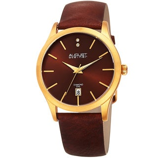 August Steiner Women's Diamond Date Sleek Gold-Tone/Brown Leather Strap Watch with FREE GIFT