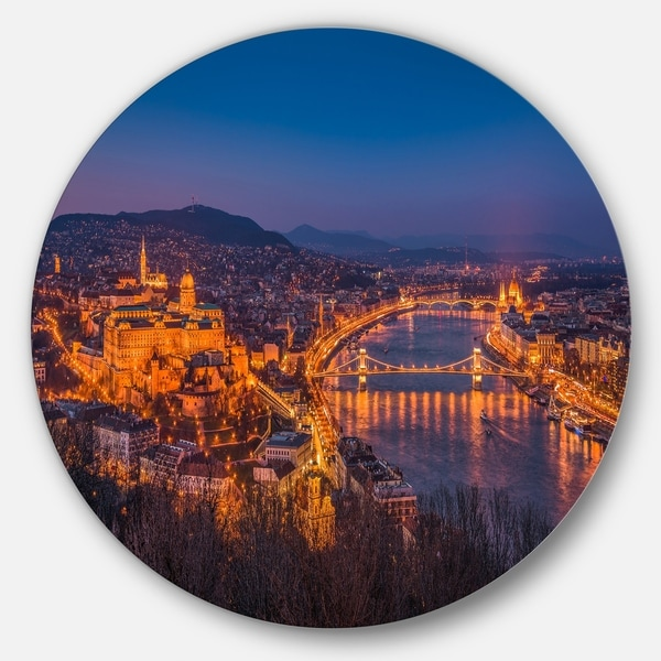 Designart 'Night View of Budapest City' Seashore Round Metal Wall Art. Opens flyout.