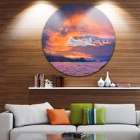 Designart 'Bright Panoramic Sunset Over Sea' Circle Wall Art Landscape