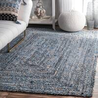 nuLOOM Handmade Braided Natural Fiber Jute/Denim Blue Rug  (5' x 8')