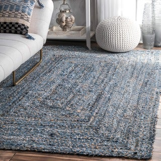 nuLOOM Blue Handmade Braided Natural Fiber Jute/Denim Area Rug