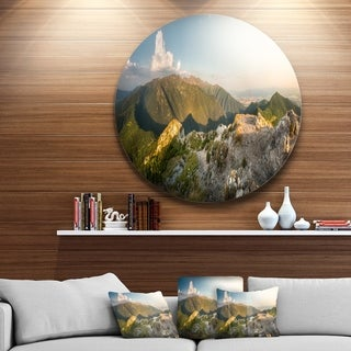 Designart 'Rocky Green Mountains Panorama' Landscape Disc Metal Artwork