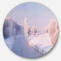 Designart 'Bright Colorful Winter Day' Landscape Large Disc Metal Wall art