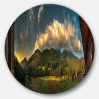 Designart 'Outside View from Hotel Room' Landscape Large Disc Metal Wall art