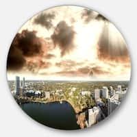Designart 'Downtown Orlando Sunset Aerial' Seascape Disc Metal Wall Art
