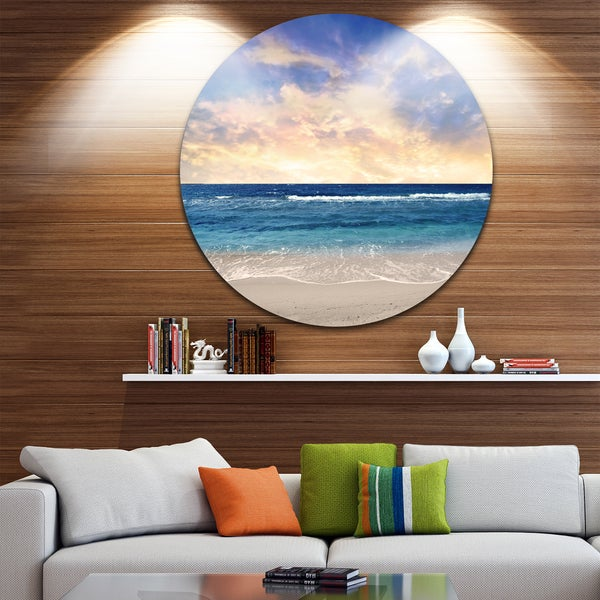 Designart 'Clear Blue Sky and Ocean at Sunset' Seascape Circle Wall Art