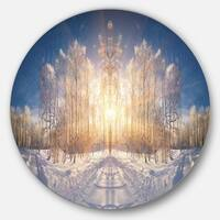 Designart 'Horizontally Flipped Winter Land' Landscape Disc Metal Artwork