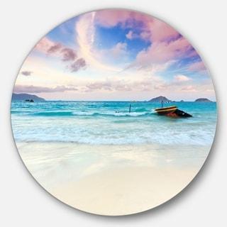 Designart 'Exotic Seashore Sunset Over Blue Sea' Seascape Round Metal Wall Art