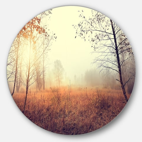 Designart 'Beautiful Natural Landscape with Trees' Large Disc Metal Wall art Landscape