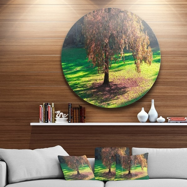 Designart Lonely Beautiful Autumn Tree Landscape Circle Wall Art Overstock 14250503