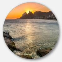 Designart 'Ipanema in Rio de Janeiro Sunset' Seascape Round Wall Art