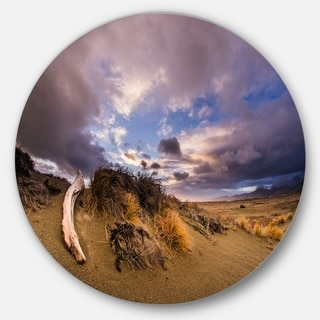Designart 'Old Wooden Trunk in the Sunset' Modern Seascape Circle Wall Art