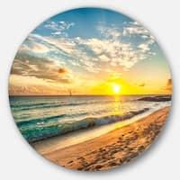 Designart 'White Beach in Island of Barbados' Modern Seascape Round Wall Art