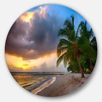 Designart 'Beautiful Beach with Palms in Barbados' Modern Seascape Disc Metal Wall Art
