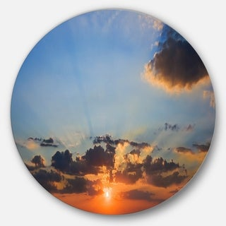 Designart 'Beautiful Cloudy Sunset Panorama' Seascape Large Disc Metal Wall art