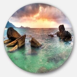 Designart 'Sunrise at Blue Lamai Beach' Seashore Disc Metal Artwork