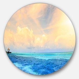 Designart 'Maldives Bungalows Sunset Panorama' Seascape Round Wall Art