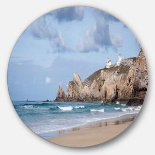 Designart 'Coastline with Lighthouse Panorama' Seashore Circle Wall Art